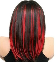 dark brown hair with red highlights - a little bright for the red but i like it!