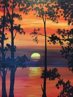 Easy Canvas Painting Ideas For Beginners. 110 Easy Canvas Painting Ideas For Beginners Canvas Painting Designs, Easy Canvas Painting, Autumn Painting, Canvas Art, Sunset Painting Easy, Canvas Ideas, Lake Painting, Painting Trees, Acrylic Canvas