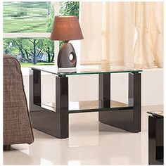 Rio Clear Glass Top Lamp Table In Black High Gloss Base Buy Lamps, Rounded Rectangle, Lamp Table, Sale Uk, Contemporary, Modern, End Tables, High Gloss, Clear Glass