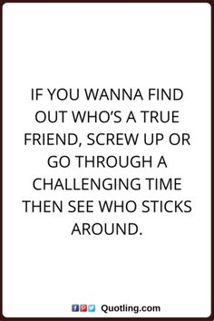 If you wanna find out who's a true friend, screw up   Friendship Quote