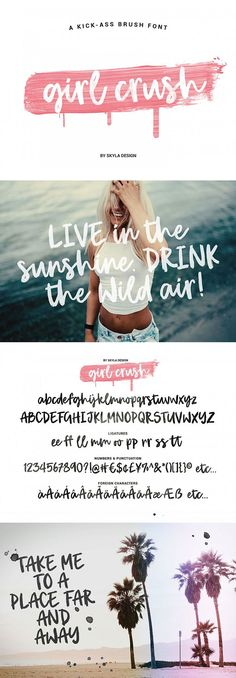 Girl Crush is a kick-ass brush font with an edge. This font will give your designs that fresh, edgy feel to it and will look lovely on quotes, fashion magazines, logos & any other awesome projects. This font is PUA-Encoded so you can be sure that any extra glyphs and symbols will be available for you.