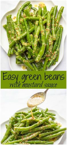 Green beans with mustard butter sauce is a quick and easy side dish with rich, tangy flavor and only 5 ingredients! #greenbeans #veggies #sidedish #vegetarian