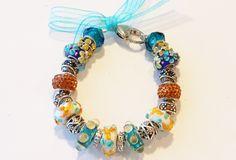European Bead Charm Bracelet Amber & Aqua Flowers Murano Glass Beads USA by ThemeBraceletGal on Etsy