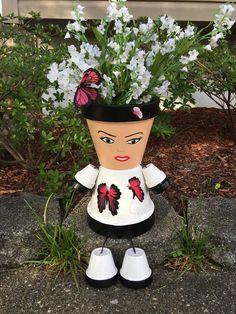 Mothers Day Pot People Butterfly Girl  Can be by GARDENFRIENDSNJ