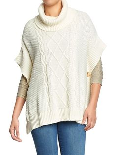 Women's Funnel-Neck Knit Ponchos (Cream, XL/XXL)