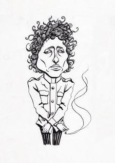 Bob Dylan ink caricature drawing by Karoliina Pärnänen, 2017. #bobdylan #inkdrawing #blackink #caricature