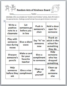 Random Acts of Kindness.  Good template and could be modified for use with high school students.