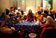 • Last Supper, 2003, David LaChapelle (US) LaChapelle is well-known for transposing historic or biblical events in to a modern context. In this photograph, the last supper of Da Vinci is re-enacted into a casual meal between young adults, with Jesus in the middle. Modern details are included, such as the beer, the tattoos and the hairstyle.