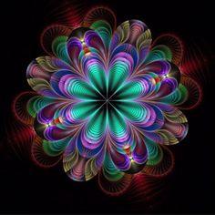 Eurydike 3 by Kattvinge on DeviantArt Art Fractal, Fractal Design, Fractal Images, Cool Optical Illusions, Art Optical, Kaleidoscope Art, Sacred Geometry Art, Fractal Geometry, Geometry Tattoo