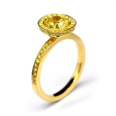 Andrew Geoghegan Classic Yellow Diamond Ring. Pictured with 1ct Fancy Intense Radiant Cut Diamond - Available in many sizes and cuts Available in blue, pink  yellow sapphires, ruby, tanzanite  aqua.