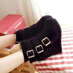New Womens High Heels Platform Wedge Shoes Winter Warm Ankle Boots Zipper Buckle | eBay