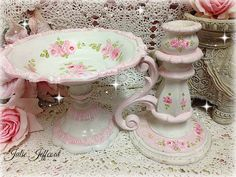 Gorgeous shabby hand painted candle holder and pedestal dish.now living with the very sweet Rose xo