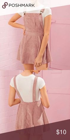 Shop Women's ROMWE Pink size L Mini at a discounted price at Poshmark. Just received in the mail, but it does not fit. Corduroy Pinafore Dress, Corduroy Skirt, Teen Fashion Outfits, Plus Fashion, Fashion Trends, Fashion Ideas, Overall Skirt, Romwe, Two Piece Skirt Set