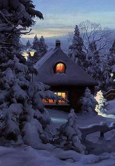 night snow and winter December 12 2019 at Winter Szenen, Winter Cabin, Winter Love, Winter Christmas, Cozy Cabin, Christmas Scenes, Cozy Cottage, Outdoor Christmas, Snow Scenes