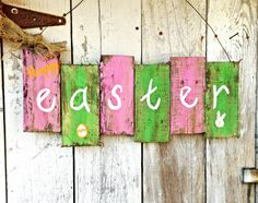 This rustic Easter Sign is perfect for any door. It is made from pallets and painted, distressed, cut and designed all by me. If you are interested