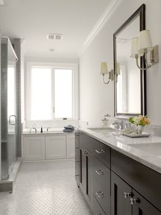 Graciela Rutkowski Interiors - bathrooms - gray, walls, espresso, stained, double bathroom vanity, marble, countertop, black, beveled, mirror, wood paneled, drop-in, tub, seamless glass shower, vintage, white, hex, tiles, espresso double vanity, espresso double bathroom vanity, espresso cabinets, espresso bathroom cabinets, espresso double washstand,