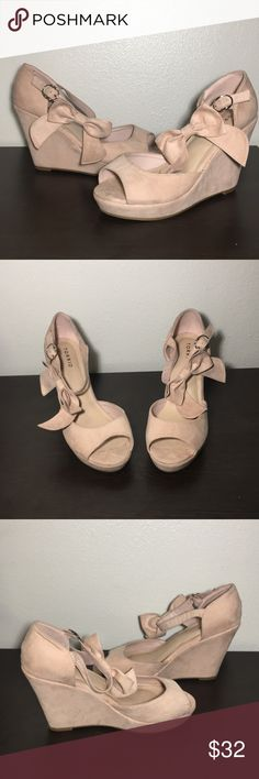 fe30d6114f15 Blush Pink Wedge Heels with Bow Ankle Strap (10W) Blush pink platform wedges  with