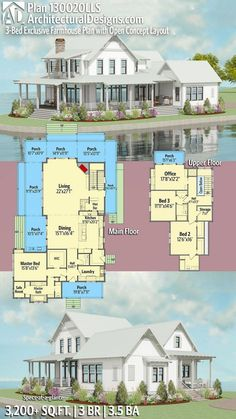 (X- only 3 beds) Perfection ❤️ Architectural Designs Exclusive Modern Farmhouse House Plan Casas The Sims 4, Modern Farmhouse Plans, Farmhouse Ideas, Farmhouse Layout, Dream House Plans, Dream Houses, Dog Houses, House Plans 2 Story, 4 Bedroom House Plans