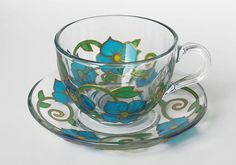 Cup and Saucer Set Floral Tea Cup Set Gift for by VeselkaGlassArt