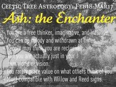 Celtic Astrology #Ash #Pisces ( Willow (Taurus) is The Observer and Reed (Virgo) is The Inquisitor)