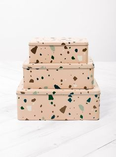 Discover the latest collection from Ferm Living at Couverture & the Garbstore. Shop the Tin Boxes Terrazzo Set of 3 online now. Christmas Gift Guide, Christmas Gifts, Presents For Boyfriend, Tin Boxes, Terrazzo, Home Accessories, Decorative Boxes, Container, Motto