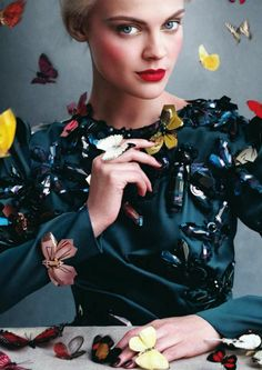 Beautiful butterflies / karen cox. Viktoriya Sasonkina in US Harper's Bazaar for September 2013. Luxury and butterflies