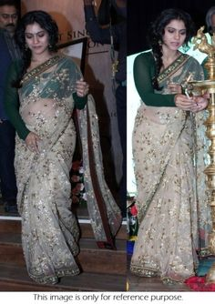 Bollywood Actress Kajol Net Saree in Cream and Green color