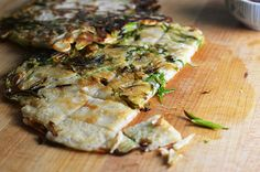 Korean Scallion Pancakes (Pa Jun) Use rice flour instead of all purpose flour.