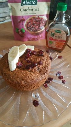 Banana Bread with Oat flour, Cranberries and Maple Syrup!!  Healthy food :)