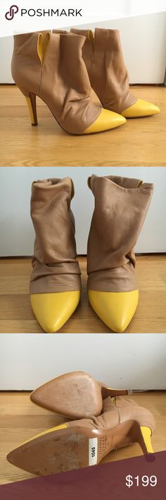 """Maison Martin Margiela Cap Toe Ankle Boots, 37 Maison Martin Margiela 22 camel leather ankle boots with yellow cap toes. Sorry, no box or dustbags.  Size: 37 Condition: never worn, only tried on inside. small mark on left cap toe, small scuff on right tip as pictured. Measurements: 4"""" heel, 7.5"""" from top to bottom Maison Martin Margiela Shoes Heeled Boots"""