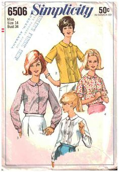 Simplicity Sewing Pattern 6506 Misses' Blouses - estimated vintage 1960's Size: 14 Bust 34 Used