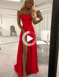 Simple Navy Blue Long Prom Dresses Split Front Evening Party #fitnessplanner #fitnessplan #workoutplan Royal Blue Prom Dresses, Fitted Prom Dresses, Satin Dresses, Formal Dresses, Spaghetti Strap Dresses, Spaghetti Straps, Dress Collection, Fit And Flare, Evening Dresses