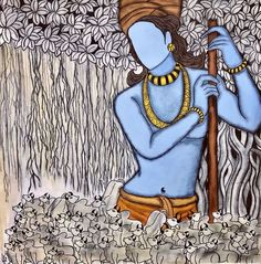Size: 32x32 In Medium: Acrylic Color Charcoal Surface: Canvas Artwork: Original #krishna #madhav #lordkrishna Kerala Mural Painting, Indian Art Paintings, Indian Illustration, Art Drawings Sketches Simple, Drawing Ideas, Indian Artist, Art Series, Ink Illustrations, Geometric Art