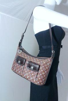 49 best brighton lover! images brighton purses, couture bagsbrighton love monogram canvas shoulder bag purse leather trim in brown \u0026amp; multi clothing
