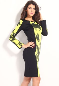 Black Yellow Leaf Print Colorblock Bodycon Midi Dress