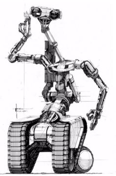 Johnny 5 concept art by Syd Mead