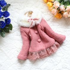 NEW YEAR CHRISTMAS baby girl gown autumn spring winter coat kid pink  blue coat gown 18m-5Y. $27.99, via Etsy.