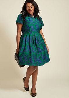 <p>You know us best for our elegant looks and surprising finds - now, get to know this green shirt dress from our ModCloth namesake label! Celebrating a divine style perspective with its black collar, crystalline buttons, hidden pockets, and blue floral print, this brocade frock touts the look you love with details you'll adore!</p>