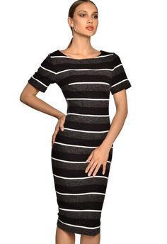 Striped knitwear dress Guy Laroche, Knitwear, Bodycon Dress, Fashion Outfits, Guys, Clothes, Dresses, Outfits, Vestidos