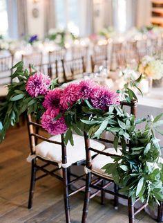 Dahlia and olive branch chair decoration - San Ysidro Ranch wedding