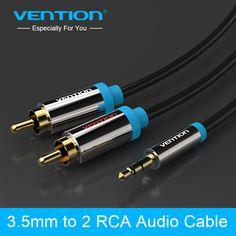 Vention 3.5 ملليمتر جاك التوصيل ذكر إلى 2 rca ذكر ستيريو كابل الصوت 1 متر/1.5 متر/2 متر/3 متر/5 متر