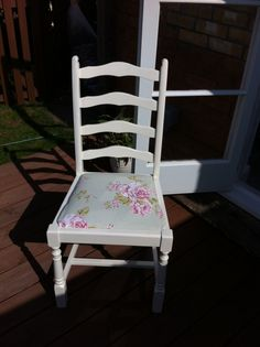 using Laura Ashley eggshell paint in antique cream and pretty garden floral fabric :) Eggshell Paint, Upcycled Garden, Garden Chairs, Laura Ashley, Egg Shells, Floral Fabric, House Painting, Cycling, Dining Chairs