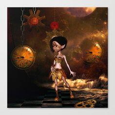 Steampunk, cute little steampunk girl Canvas Print