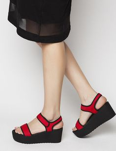 Jayden Red Pattern Platforms S/S 2015 #Fred #keepfred #shoes #collection #neoprene #fashion #style #new #women #trends #red #platfoms #wedges #black