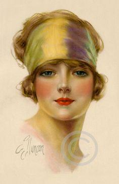 Beautiful Art Deco Flapper Girl Giclee Fine Art Print by Frederick Duncan 11x17 on Etsy, $25.00