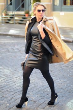 Black dress and tan trench. A classy take on leather.