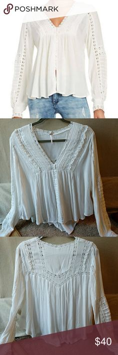 Free People Meet Me Halfway V-Neck Blouse Worn once, size XS Free People top. Beautiful detail, no visible wear. Free People Tops Blouses