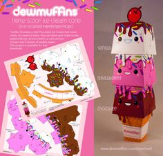 Triple Scoop Ice Cream Cone Papercraft Toy Free Download. Make your own triple scoop ice cream cone.  Go to http://www.dewmuffins.com/download #papertoy #papercraft