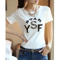 Rhinestones Embellished Short Sleeve Round Neck Letters Print Pullover T-Shirt For Women
