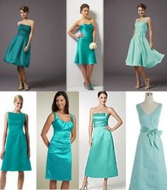 Bridesmaids dresses - lots of different cuts and shades of the same color. In cobalt blues please!!